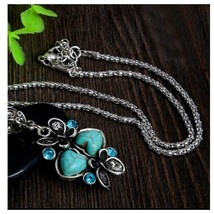 Turquoise Heart And Butterfly Necklace With Chain, Antique Silver Vintag... - $3.99
