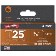 "Arrow 259 T25 Round Crown Staples, 9/16""; 1,000 pk - $19.94"