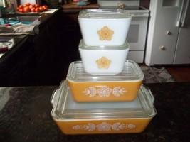Pyrex Golden Butterfly Refridgerator Boxes 8 piece set 2-501, 1- 0502, 1... - $76.67