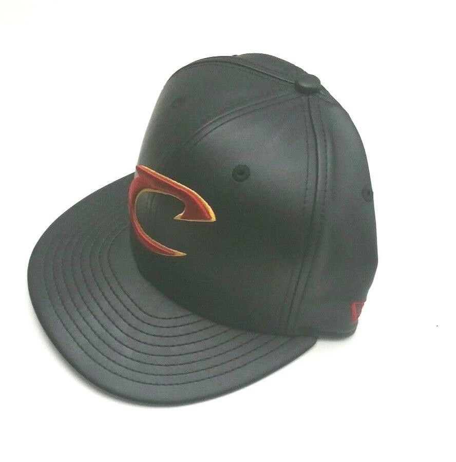 New Era Cleveland Cavaliers 59Fifty PU Leather Fitted Hat Black Size 7 1/8 image 1