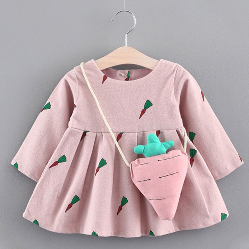 Bear Leader Baby Dresses 2018 New Spring Baby Girls Clothes Cute Carrot Printing