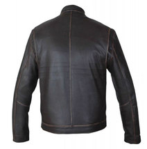 Contraband Mark Wahlberg Mens Moto Slim Fit Distressed Brown Leather Jacket image 4