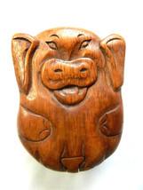 Wooden Pig Puzzle Trinket  Box Carving - Sitting Pig Design - $18.45