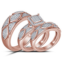 14k Rose Gold Finish 925 Sterling Silver His & Her Wedding Trio Diamond ... - $125.45