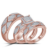 14k Rose Gold Finish 925 Sterling Silver His & Her Wedding Trio Diamond ... - £94.34 GBP