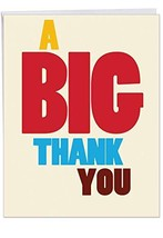3 Pack of Jumbo Thank You Greeting Cards: Big Thank You Thank You Card; ... - $21.64