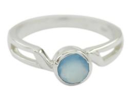 gift for b'day Natural Aqua Chalcedony Blue Gemstone Fair Silver Ring SZ... - $20.02