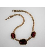 Monet Gold Tone Ruby Red Choker  Necklace J308 - $54.00
