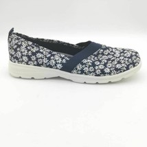 Lands End Womens Comfort Flat Shoes Navy Blue Floral Lightweight Slip Ons 11 B - $25.73
