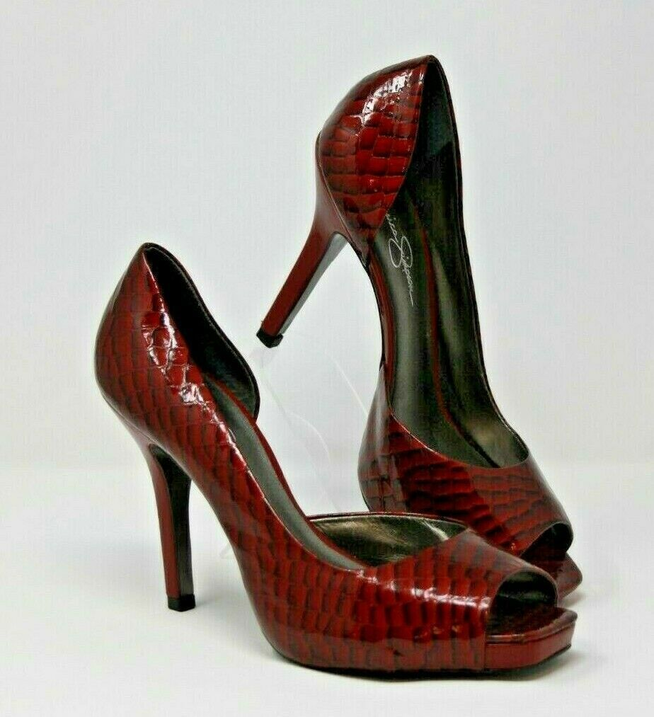 "Jessica Simpson Size 9.5 B Womens Heels Red Croc Embossed Leather Upper 4"" Heel"