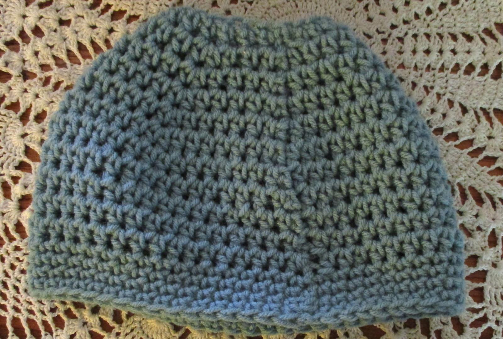 Blue Messy Bun Ponytail Beanie Hat