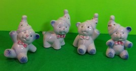 Four Vintage Ceramic White TeddyBears Wearing Polka Dot Hats Ties Nurser... - $11.30