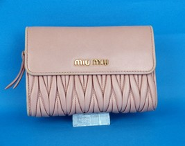 Auth MIU MIU Matelasse Pink Leather Trifold Wallet Coin Purse Hand Bag G... - $127.71