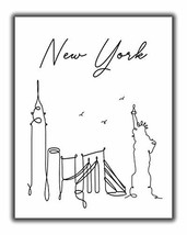York City Skyline CityScape Wall Art - 11x14 UNFRAMED, Minimalist Line Art Black