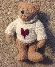 "VTG 90s The Boyds Collection Brown  Stuffed Teddy Bear 9"" Plush Heart Sw... - $9.46"