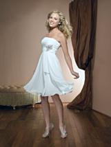 A-Line Strapless Short Chiffon Informal Wedding Dress - $250.00