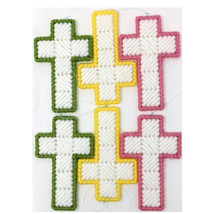 Easter Cross Christmas Ornaments Yellow Green Pink - $30.00