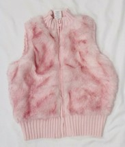 Gymboree Little Girls Pink Knit & Fur Fuzzy Zip Up Vest Size S(5-6) NEW - $29.21