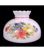 """Student Lamp Shade Milk Glass Floral 10"""" Red Blue Yellow Desk Table Chan... - $49.95"""