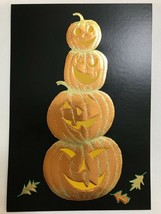 Halloween Card 2019 with Orange Shiny Foil Pumpkins and Leaves on a Blac... - $6.93