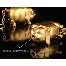 Gas Lighter Metal Gold Pig Model Inflated Butane Cigarette Fire Mini Creative image 5