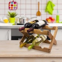 Sorbus Bamboo Foldable Countertop Wine Rack 6-bottles, With Two Horizontal - $24.99