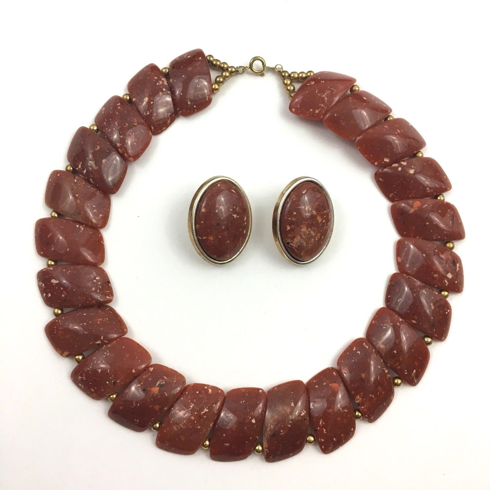 Vintage Red Plastic Necklace Earring Set Chunky Statement Faux Stone Boho