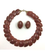 Vintage Red Plastic Necklace Earring Set Chunky Statement Faux Stone Boho - $19.75