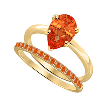 Pear Cut Orange Sapphire 14k Yellow Gold Over 925 Silver Engagement Bridal Ring  - $81.59