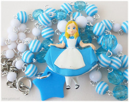 Alice in Wonderland Necklace, Beaded White and Baby Blue Chain, Silver P... - $33.00