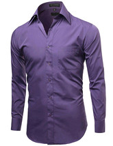 Omega Italy Men's Purple Dress Shirt Long Sleeve Slim Fit w/ Defect - 4XL image 2