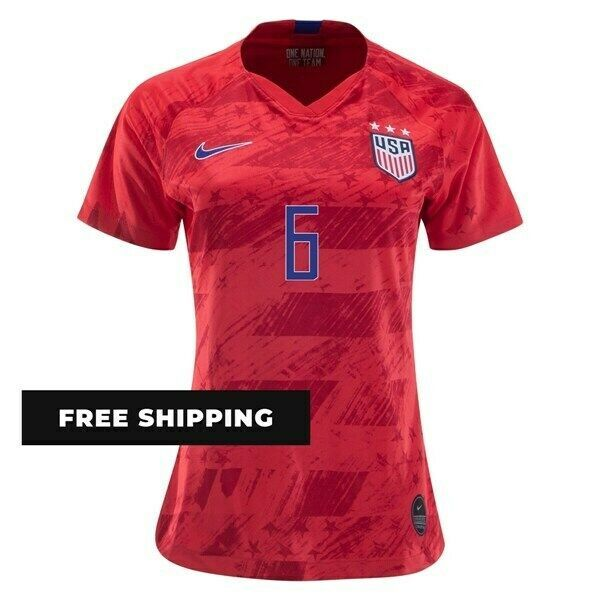 NIKE MORGAN BRIAN #6 USA WORLD CUP US WOMEN'S AWAY RED WOMENS SOCCER JERSEY