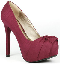 Berry Red Thai Silk  w Knot Bow High Heel Platform Pump Qupid Marquise-10 - $9.99