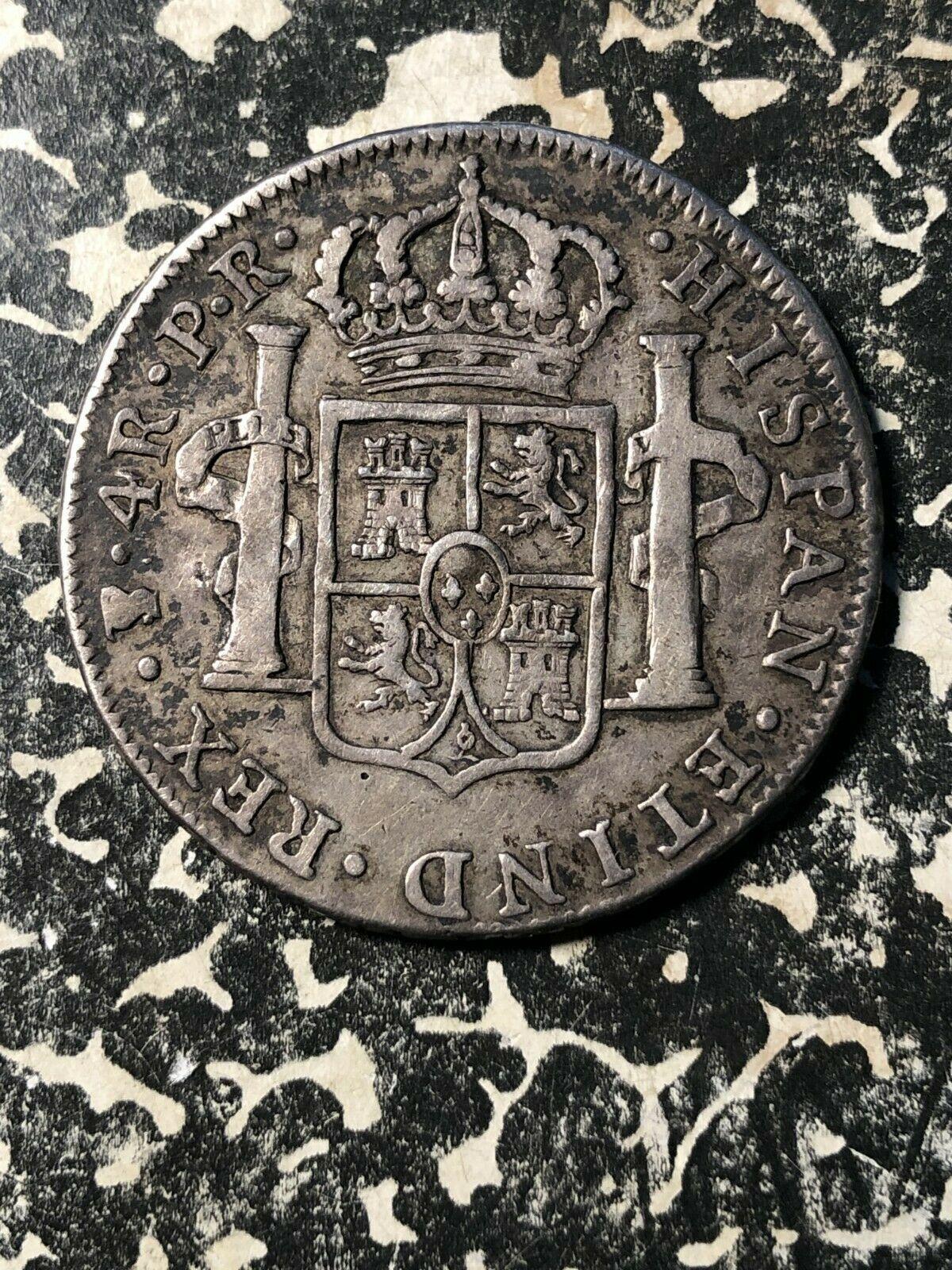1778-PR Bolivia 4 Reales Lot#JM1074 Silver! Scarce! Chopmarked