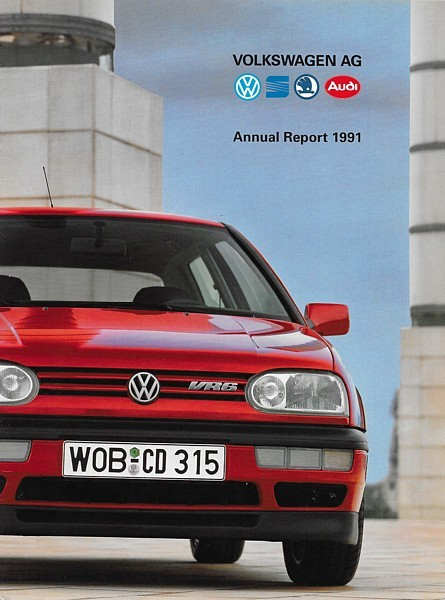 1991 VOLKSWAGEN AG CORPORATE Annual Report financial brochure catalog Audi Skoda