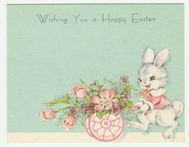 Vintage Gift Enclosure Card Easter Yellow Chicks Violets Eggs Unused 1950's - $7.91