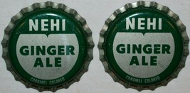 Soda pop bottle caps NEHI GINGER ALE Lot of 2 plastic lined unusd new ol... - $5.99