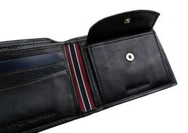 Tommy Hilfiger Men's Premium Leather Id Credit Card Coin Wallet Black 31Tl25X020 image 8