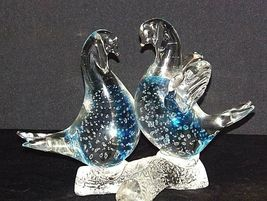 Clear and Blue Glass Birds AA18-11913 Vintage image 3