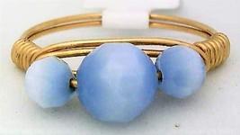 Light Blue Cat Eye Glass Bead Gold Wire Wrap Ring sz.6 - $10.07