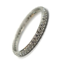 18K WHITE GOLD ETERNITY BAND RING, DOUBLE CUBIC ZIRCONIA ROW, THICKNESS 2.5 MM image 1