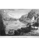 POTOMAC RIVER Falls near Georgetown & Chain Bridge - 1883 German Print - $16.20