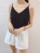 Women's Chiffon Tops Black Dot Chiffon Top V-neck Summer Blouse Top Petite Size  image 2