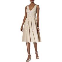 Adrianna Papell Sleeveless Tea Length Beaded Dress, Champagne,16 - $217.79
