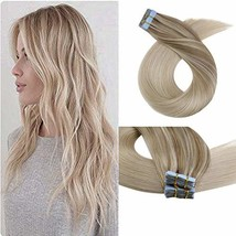 Moresoo 18 Inch Skin Weft Tape in Human Hair Extensions Glue on Hair for Women C