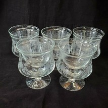 Vintage Etched Crystal Shrimp Cocktail Glasses w Inserts Icers Set of 5 ... - $39.55