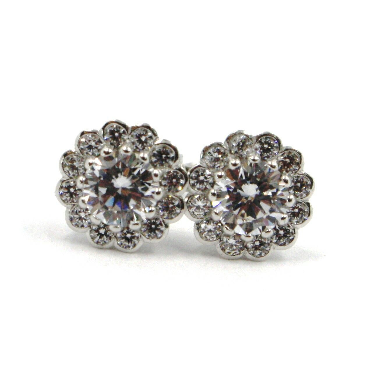 WHITE GOLD EARRINGS 750 18K, ZIRCON CARAT 4, BUTTON, FLOWER, 9 MM