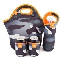 Lunch Bag Water Bottle Sleeve 2Can Coolers Insulated XL Neoprene Food St... - $30.09