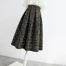 Pink Winter Tweed Skirt A-line High Waisted Pink Midi Tweed Skirt image 5