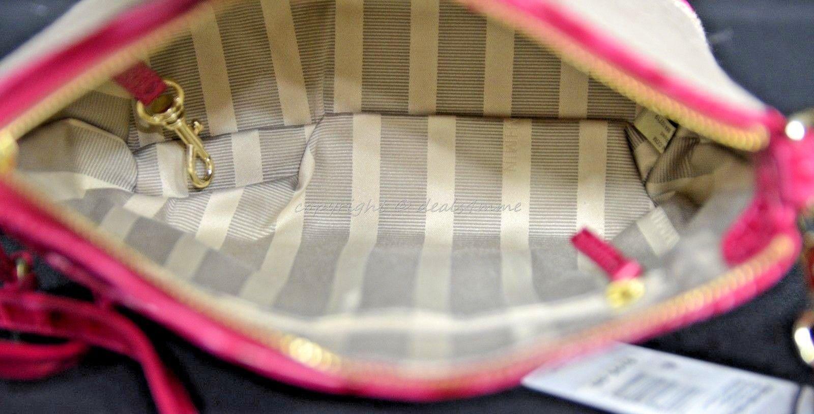 NWT Brahmin Mini Duxbury Shoulder Bag in Punch Harbor, Pink Leather/Beige Fabric image 3